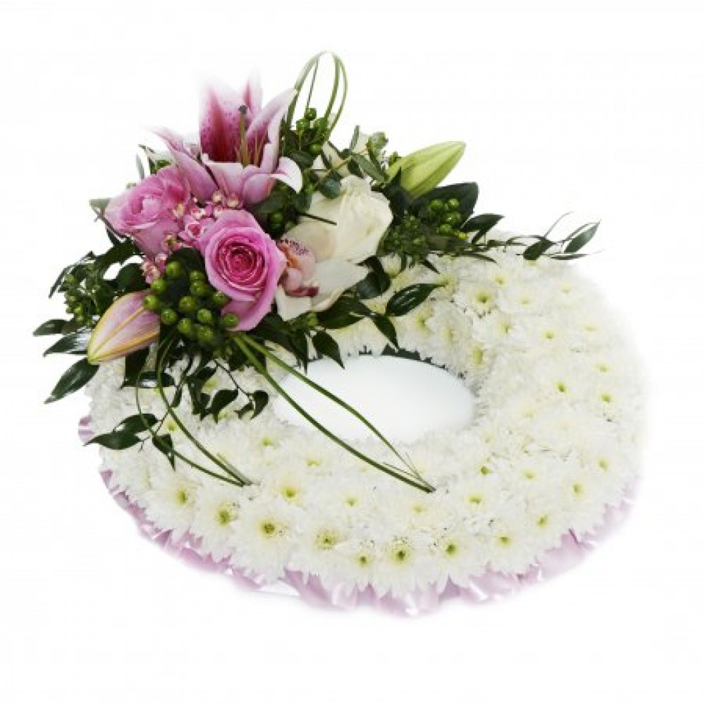 Funeral tributes flowers sonning common funeral tributes flowers pink and white based wreath izmirmasajfo