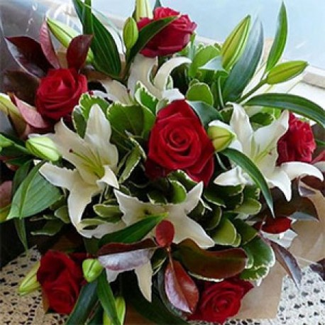 Ravishing Red Roses and Luscious Lilies