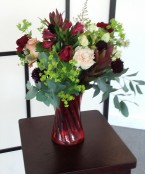 Ruby Glow bouquet arrangement in a Vase